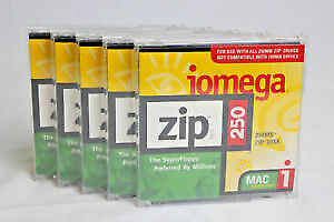 10x Iomega Zip Disk - Iomega 250 MB New (mac formatted)