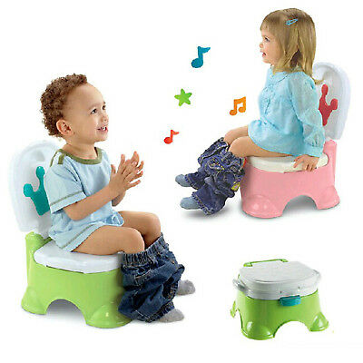 3 in 1 Baby Fun Training Toilet Kids Child Music Green Potty Trainer Seat Urinal
