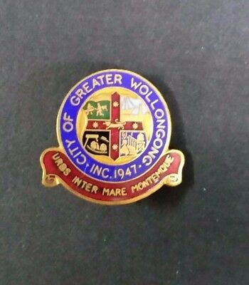 1947  City Of Greater Wollongong  Pin Badge   By Angus & Coote
