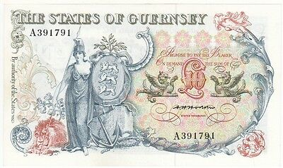 Guernsey - Scarce £10 Note From 1975, About Uncirculated