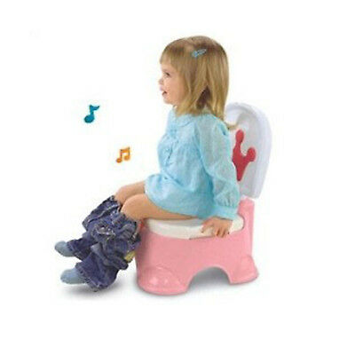 3 in 1 Pink Baby Kid Training Toilet Music Seat Potty Chair Trainer Bathroom UK