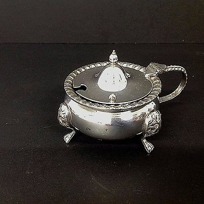 Antique Silver Plated Mustard  Pot  With  Blue Glass Liner