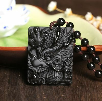 Fine Natural Obsidian Hand Carved Chinese Dragon Lucky Amulet Pendant Necklace