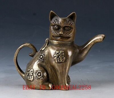 Chinese Bronze Handwork carved Fortune Cat Teapot QW0242 HT146