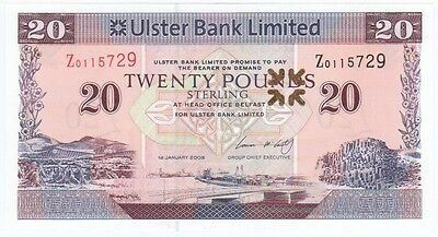 Ulster Bank Ltd. £20 Dated 2008,  Prefix Z, Replacement Note, Uncirculated