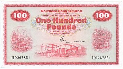 Northern Bank £100 Dated 1980, Prefix H, Uncirculated Condition