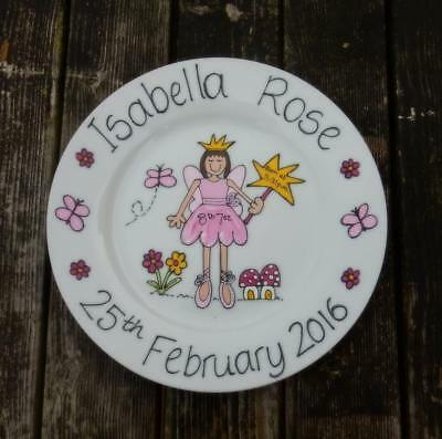 Hand painted personalised baby birth christening gift plate fairy design