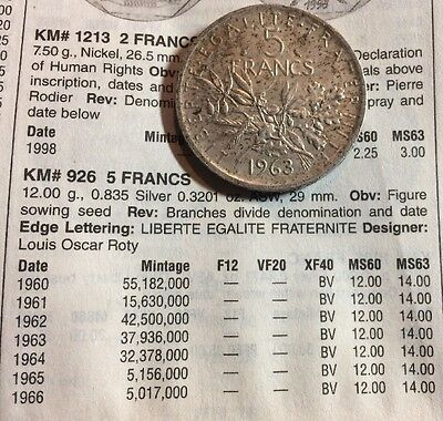France Silver Coin 5 Francs 1963 (0.835)
