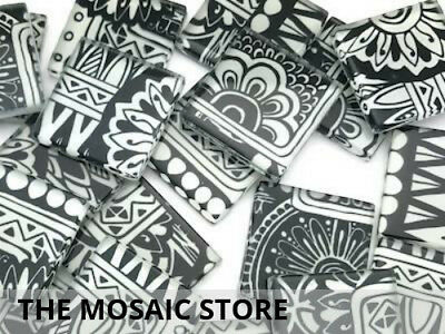 Black & White Handmade Glass Tiles 2.5cm - Mosaic Supplies Art Craft Tiles