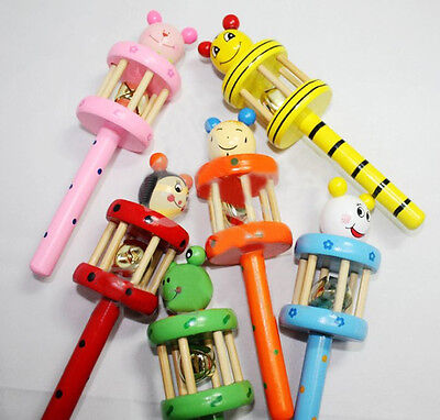 Wooden Baby Cartoon Animal Handbell Jingle Rattle Musical Instrument Toy Gift