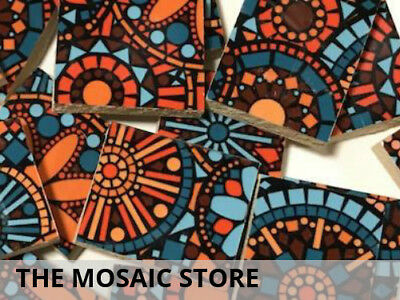 Handmade Patterned Ceramic Tiles - Mosaic Tiles Supplies Art Craft