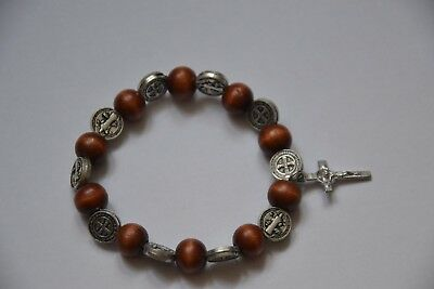 Wooden Rosary Bracelet With Cross