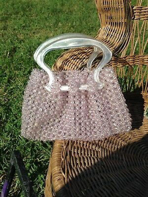 Vintage Beaded Bag With Lucite Handles