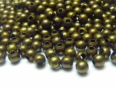250 pce Antique Bronze Round Metal Spacer Beads 4mm Jewellery Making Craft