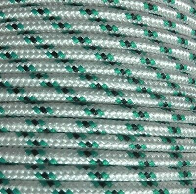 8mm x 50m Polyester Rope Double Braided White Black Green Yacht Sailing Mooring