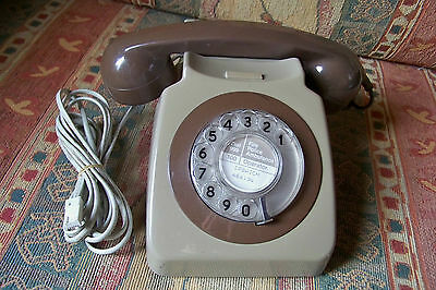 Vintage Telephone Mid Brown Two Tone British Telecom FWG 84/1 Converted