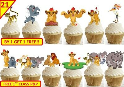42 THE LION GUARD Birthday Party Cup Cake Edible Wafer Rice Toppers Stand up