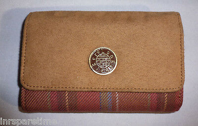 Longaberger Toboso Plaid & Suede Medium Wallet