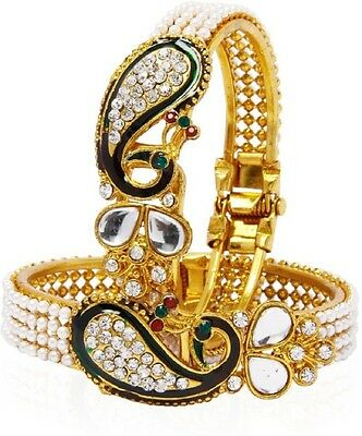 Peacock Gold Plated Green Stone with full Pearls Bangles Set Size_2.6 Free