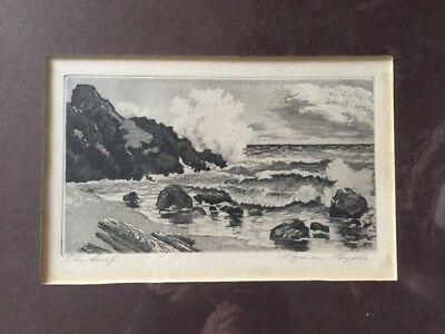 """Lyman Byxbe Original Etching Titled """"the Surf"""" Signed And Framed"""