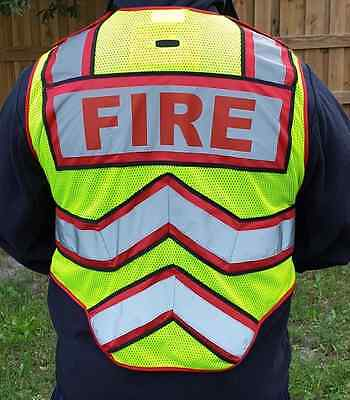 ULTRA BRIGHT RED-RED FIREFIGHTER 6 Point Breakaway Class II Safety Vest