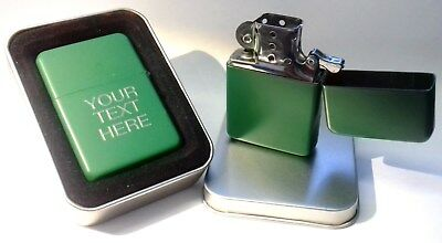 Engraved GREEN Personalised Star Petrol Lighter Birthday Valentine Present Gift