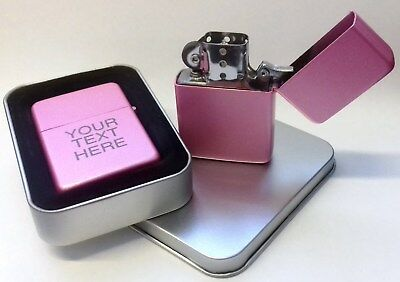 Engraved PINK Personalised Star Petrol Lighter Birthday Christmas Present Gift