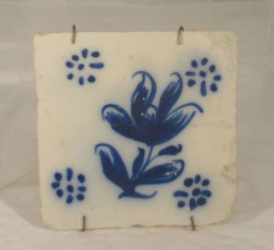Antique Underglaze Blue and White Dutch Delft European Tile Thick Porcelain