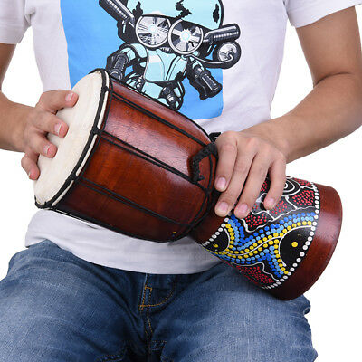 6'' Classic Handmade Painting Wooden African Style Folk Hand Drum Music Djembe