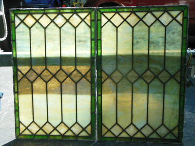 "Pair of Early 1900's Stained Glass Leaded Windows Tiffany Like- 28""x18"""