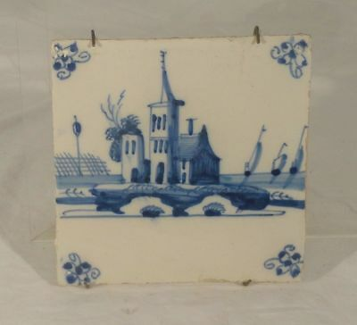Antique European Dutch Underglaze Blue and White Delft Tile Church