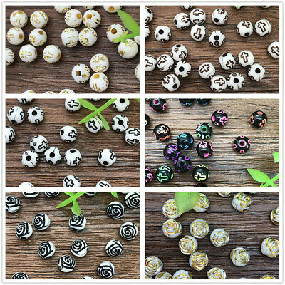 DIY 6mm 100pcs Acrylic Round Pearl Spacer Loose Pattern Beads Jewelry Making