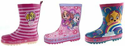 Girls Paw Patrol Wellington Boots Pink Rubber Rain Wellies Snow Boots Kids Size