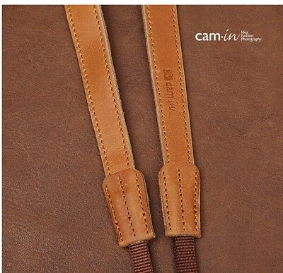 Tan Leather adjustable Camera Strap with tapered ends by Cam-in