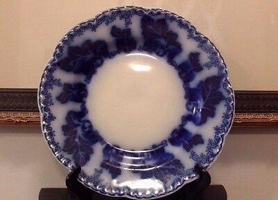 JOHNSON BROS  ENGLAND NORMANDY FLOW BLUE PLATE WITH GRAPE LEAVES 8' c. 1900