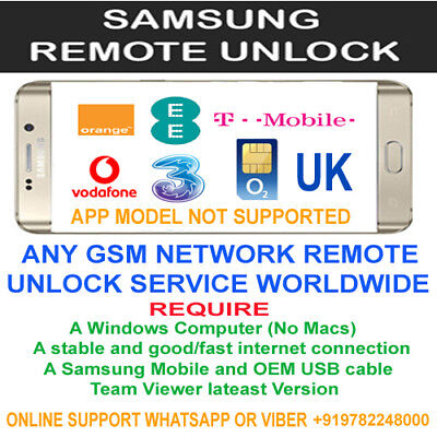 SAMSUNG REMOTE UNLOCKING CODE SERVICE Via Usb GALAXY S8+ S8 S7 S6 S5 VODAFONE UK
