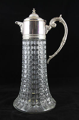 Vintage Ornate Glass & Silverplate Pitcher Carafe Victorian Art Glass - Italy