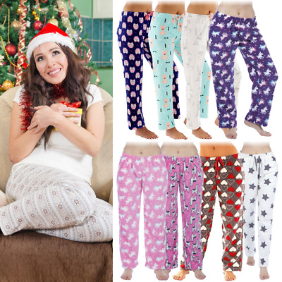 Ladies Girls Pyjama Bottoms Warm Fleece Winter Lounge Pants Nightwear Unicorn
