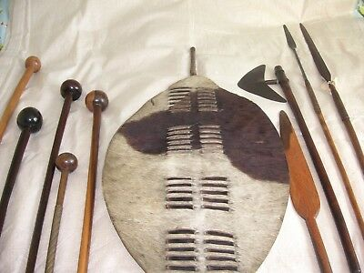 Zulu Collection. Shield, Spears, Axe, Clubs. All Genuine.
