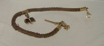 Antique Victorian Gold Filled Folk Art Hair Weaving MOurning Jewelry Watch Fob
