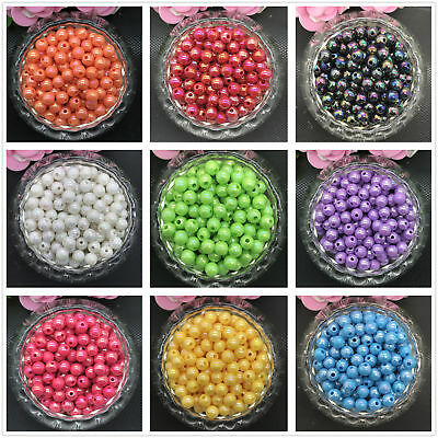 New 6mm 100pcs DIY Acrylic Round Pearl Spacer Loose bright Beads Jewelry Making