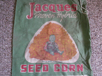 Jacques Seed Corn Prescott Wisconsin Green Bag Sack Farm Girl Sitting On Corn