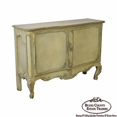 Antique 18th Century French Louis XV Style Painted 2 Door Console Server