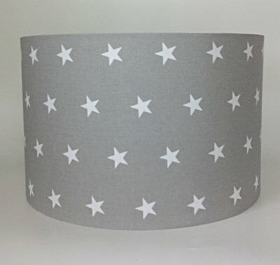 Grey with White Stars Large Fabric Light Shade - Children's Light