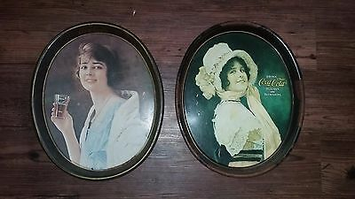 VINTAGE 1973 DRINK COCA-COLA ADVERTISING METAL Oval SERVING TRAYS (LOT OF 2)
