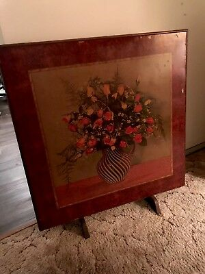 Antique Wood Folding Table Fireplace Screen