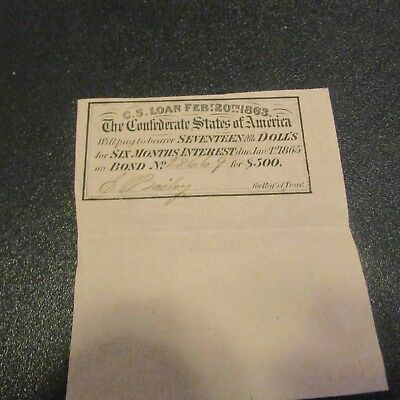 Very Nice 1863 C.s.a. Coupon