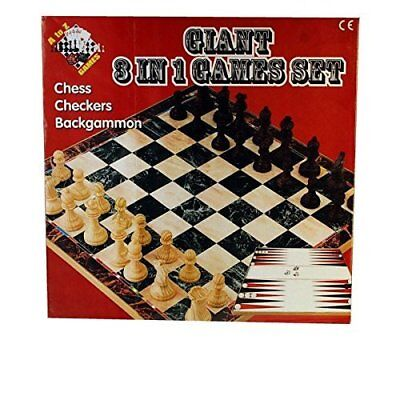 Giant Chess, Checkers and Backgammon 3 in 1 Games Set (Multi-Colour) - 08818
