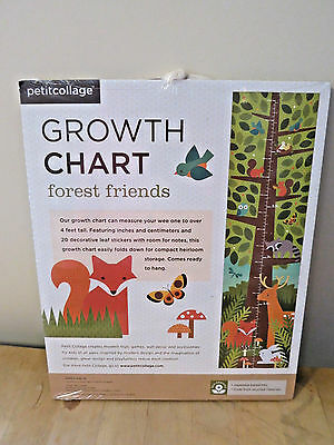 NEW Petitcollage Growth Chart Forest Friends Nursery Decor Folding Orange Fox