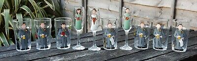 Personalised Painted Wedding party Gift Glass Favours bridesmaids best man x9